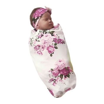 Adorable Vintage Floral Newborn Baby Swaddle Blanket and Matching Headband