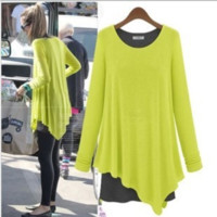 Yellow Long-Sleeve Layered Asymmetrical Shirt