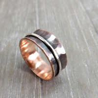 copper silver ring spinning ring hammered copper ring with silver 8mm wide mens ring spinner ring