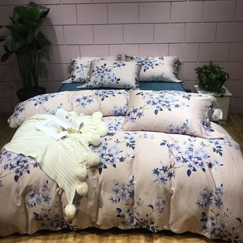 TUTUBIRD Luxury 100% Egyptian cotton bedding set blue floral princess style duvet cover Boho bedclothes bohemian bedlinen