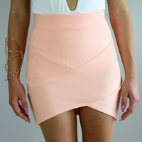 PASTEL PEACH BANDAGE WRAP TUBE DISCO SKIRT 6 8 10 12