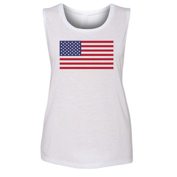 Ladies 'American Flag' Muscle Tank
