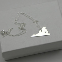 Sterling Silver State Love Heart Necklace - Virginia