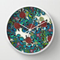 turtle reef Wall Clock by Sharon Turner