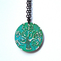 Double sided weathered copper tree of life pendant - brass tree of life pendant - blue green pendant by Sparkle City Jewelry