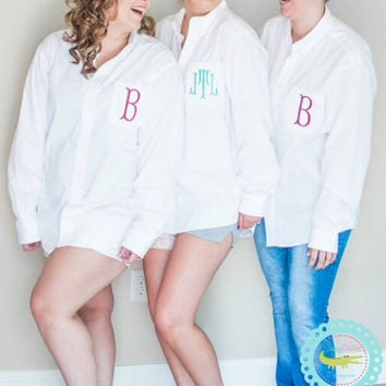 Bride And Bridesmaids Oversized Monogrammed On Down Shirts Boyfriend