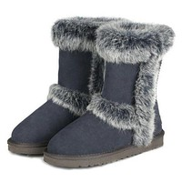 UGG Women New Fashion Fur Wool Snow Boots In Tube keep warm Boots Shoes