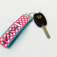 MATURE NSFW Pink + White Polka Dot Key Wristlet & Teal Webbing Hot Shit Cursing Lanyard Key Fob Swearing Chain Profane Adult Rude Wristlet