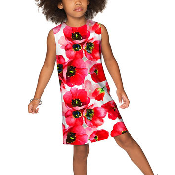 Tulip Salsa Adele Unique Red & White Floral Shift Dress - Girls