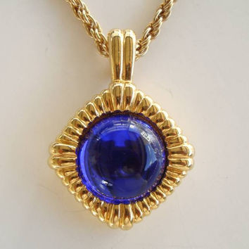 Kenneth J Lane Cobalt Blue Pendant Necklace KJL Designer Jewelry