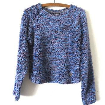 90s North Face Fuzzy Cropped Carpet Sweater - Cyber Goth Furry Monster Style Crop Top