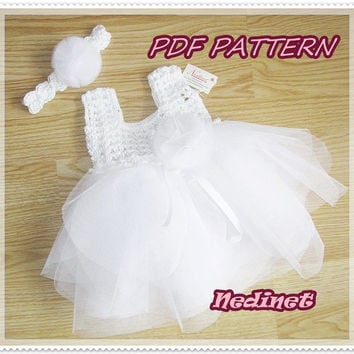 Crochet baby tulle dress pattern, crochet tulle dress, Bridesmaid wedding, 0-12 months set PATTERN