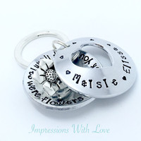 if nannies were flowers keychain , personalised keychain , nanny , grandma , grandchildren , hand stamped , keyring , mothers day