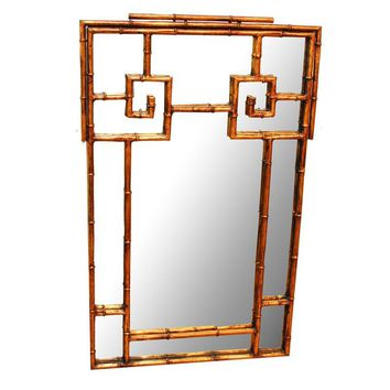 Pre-owned La Barge Brass Greek Key Chinoiserie Mirror
