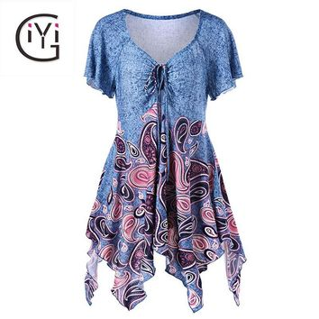 GIYI Plus Size 5XL Empire Waist Paisley Print Asymmetric Blouse Shirt Women Summer 2017 Tunic Ruffle Top Ladies Big Size Blusas