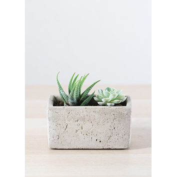 "Decorative Ceramic Cement Rectangular Floral Planter in Grey - 5.25"" L x 2.75"" W x 2.75"" H"