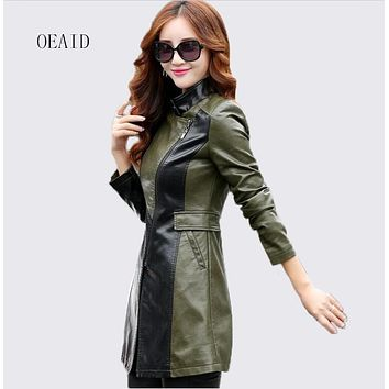 Fashion Long Leather Jacket Women Leather Coat Outerwear New 2017 spring Slim Ladies Jackets And Coats Black