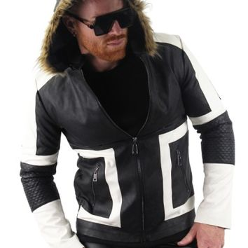 Fur Hood Leather Jacket
