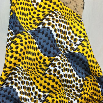 Made in Mali--African Wax Print Fabric--Ankara Fabric--Yellow, Charcoal, and Tan Animal Print Fabric--African Wax Print by the HALF YARD