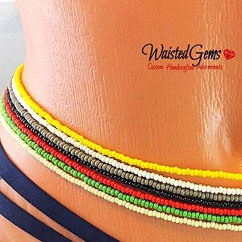 Color Choice Single Strand Waist Beads, Waistbeads, African Waist Beads, Bikini Set, belly chain, Summer Jewelry, Beach Wear, Anklets, crop tops, Belly Button Ring with Chain, Best Selling Item