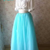 Turquoise Skirt. Maxi Tutu Skirt. Turquoise Wedding. Bridesmaid Skirt. Women Clothing. Floor Length Bridal Tutus. Full Tulle Skirt(T287)
