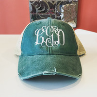 Monogrammed Distressed Trucker Hat