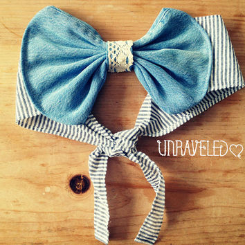 Denim Bow Bandeau Top. Bikini Cover Up