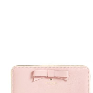 Women's kate spade new york 'north court - bow lacey' pebbled leather zip wallet