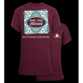 Southern Couture Preppy Thankful Grateful Blessed T-Shirt