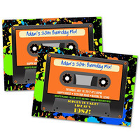 80s Cassette Tape Invitations - Casette Invite - Boy 80s Party - Retro Man Birthday - Neon Pain Splatter - Cassette Invitations - Adult Kid