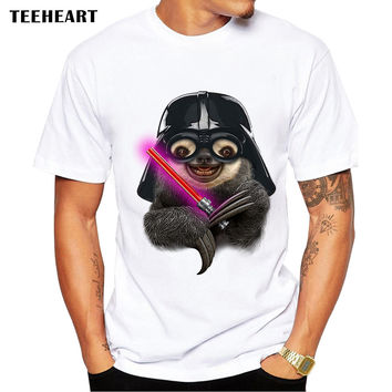 Men's Modal T-shirt Funny Sloth Darth Vader Printed O-neck Short Sleeve Summer Casual Tee for Men