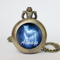 Handmade Harry Potter inspired Snape and Lily pocket watch locket necklace always vintage Pendant locket necklace
