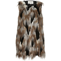 Brown patchwork faux fur vest - vests - coats / jackets - women