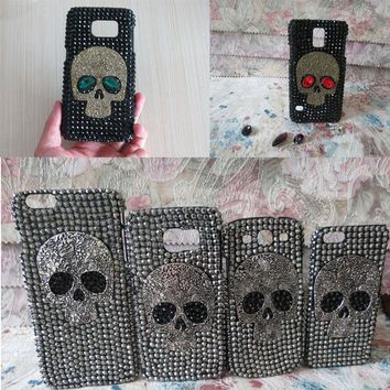 Handmade Diamond Bling Rhinestone Skull Phone Cover Fashion Cool Phone Case For Samsung S8 S8plus S7 S7Edge S6 S6Edge A7 A7 2016