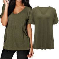 ZANZEA 2016 Women Summer Plus Size Rolled Sleeve T Shirt Sexy V Neck Loose Tops Tees 6 Color camisetas mujer S-3XL T-Shirts