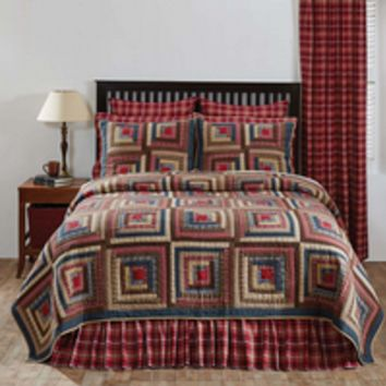 Braxton - 9pc Queen Super Set - Americana Patchwork Quilt, 2 Standard Quilted Shams, 2 Pillow Cases, Valance, 2 Quilted Euro Shams & Bed Skirt! - Spring 2017