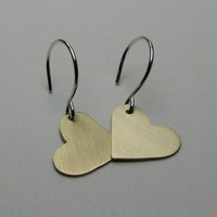 Heart Earrings in Sterling Silver and Brass by SNstudio on Zibbet