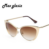 New  Super Retro Glasses Half Metal Rim Vintage Women Sunglasses Cateyes Designer Eyeglasses For Girls Oculos