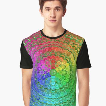 """Rainbow Flower Mandala"" Women's Chiffon Top by davidzydd 