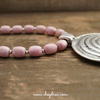 Free Shipping Jewelry - PINK GEMSTONE NECKLACE, Silver Statement Pendant by Cheydrea