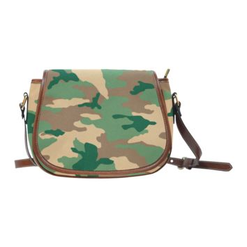 Women Shoulder Bag Dark Woodland Camo Saddle Bag Large