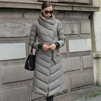 Women's Winter Jacket Hooded Coats White Long Down Jackets Parkas For Women Elegant Cocoon Thick Coats