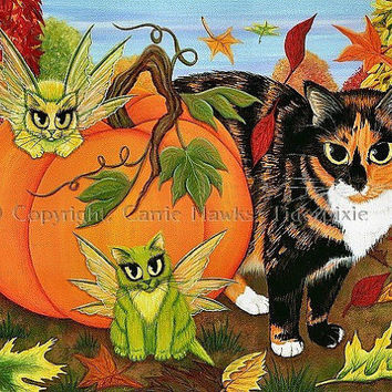 Calico Cat Fairy Cats Painting Fall Pumpkin Autumn Harvest Green Fairy Cat Fantasy Cat Art Print 8x10 Cat Lovers Art