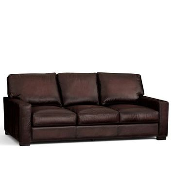 TURNER LEATHER SQUARE ARM SLEEPER SOFA