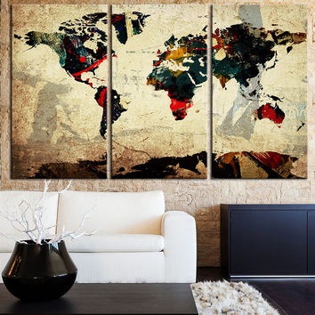 Canvas Art Old Paper Vintage World Map - Contemporary 3 Panel Triptych Grunge Special Design Abstract Retro Map Canvas