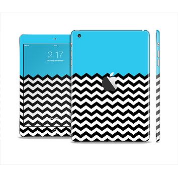 The Solid Blue with Black & White Chevron Pattern Skin Set for the Apple iPad Mini 4