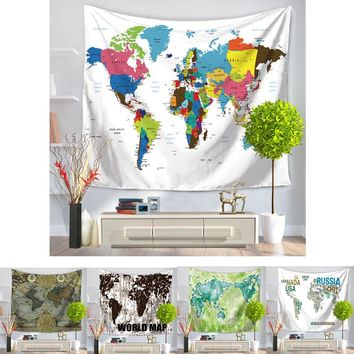 150cmx130cm World Map Tapestry Printed Tapestry Wall Rectangle Polyester Sand Beach Carpet Home Hanging Wall Tapestries