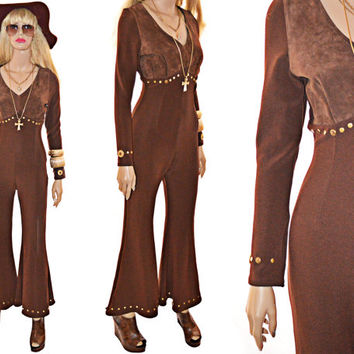 70s Bell Bottom Jumpsuit Vintage Suede Leather Hippie Boho XS S Wide Leg Disco Glam
