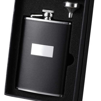 Visol Ontario Black Leather Stainless Steel and Funnel Gift Set - 8 oz