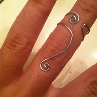 Above The Knuckle Silver Wire Swirl Ring